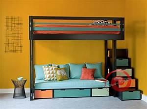 lit mezzanine avec canape convertible fixe With tapis ethnique avec canapé convertible superposé