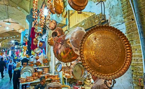 store  copper cookware kerman iran editorial photography image  coppersmith