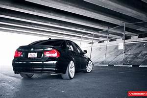 """BMW E90 on Silver Polished Vossen CV7s """"Dropped Clean"""