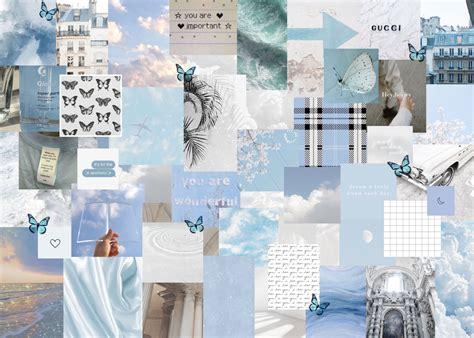 blue white aesthetic laptop wallpaper aesthetic