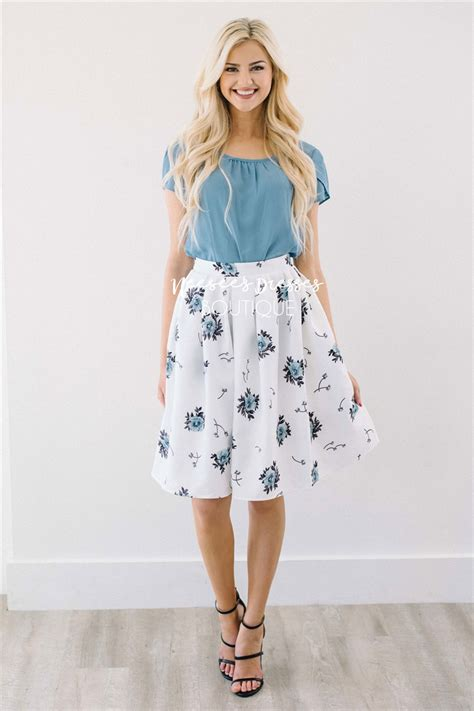 White Blue Floral Pleated Modest Skirt for Church | Modest Bridesmaids Dresses | Modest Dresses ...