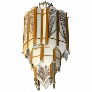 Spectacular art deco zig zag movie theater chandelier