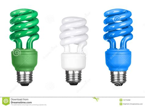 energy efficient light bulbs on white royalty free stock