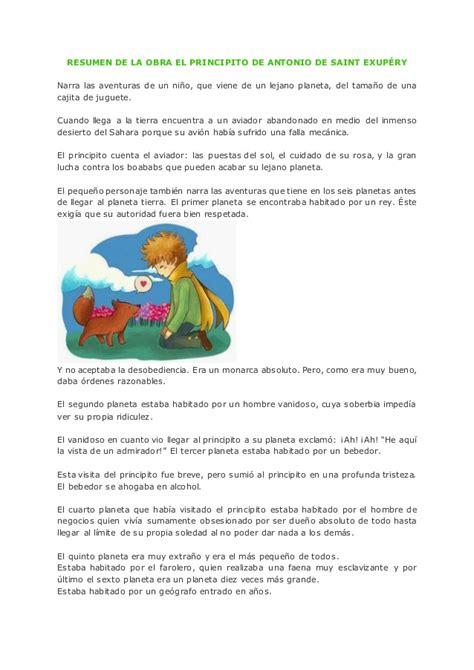 Resumen O Resú by Resumen De La Obra El Principito De Antonio De