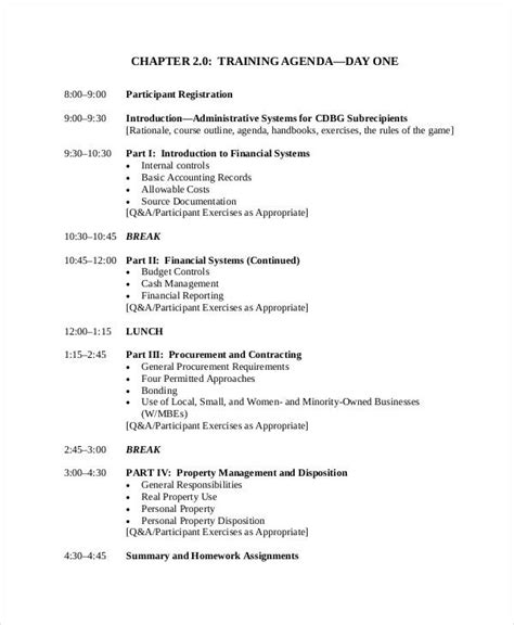 training agenda examples samples examples