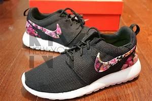 Nike Roshe Run Black White Floral Bouquet Print Custom ...