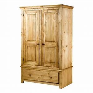 Armoire en Pin Brossé 2 portes et 1 tiroir Brush Grenier Alpin