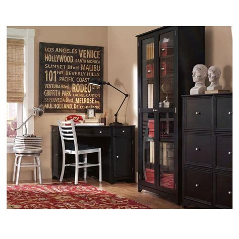 Black Glass Bookcase by Home Decorators Collection Oxford Black Glass Door