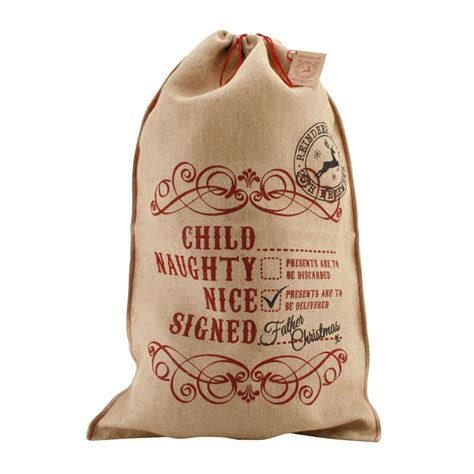 personalised hessian christmas sack with personalised