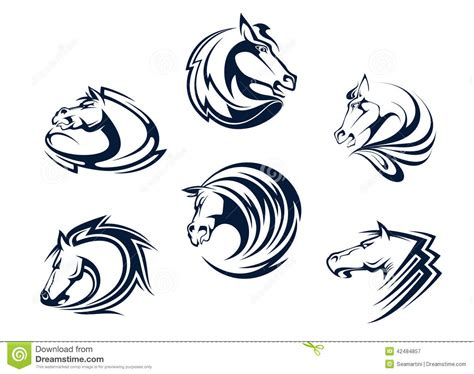 horse mascots embleme sports stallions mustangs emblems