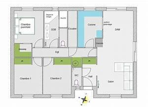 beau plan architecture maison 100m2 12 plan maison 90m2 With plan de maison 90m2 plain pied