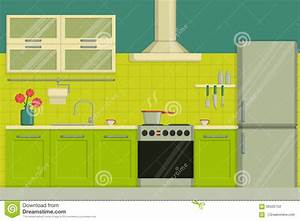 Interior Illustration Of A Modern Lime Colored Kitchen ...