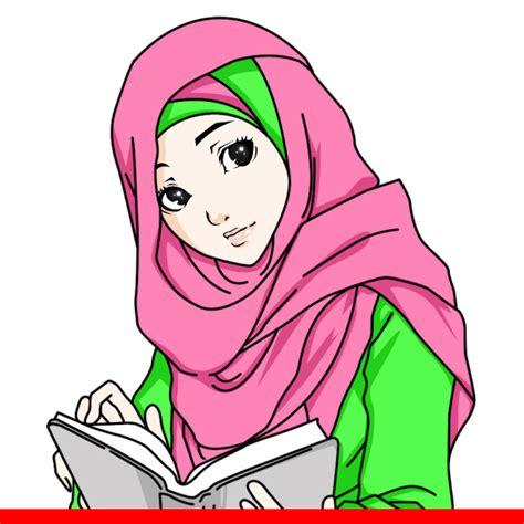 gambar kartun keren lucu sketsa karikatur muslimah
