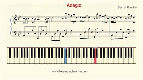 how to play piano secret garden quot adagio quot piano tutorial