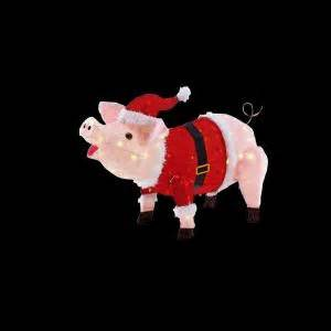 lighted pig lawn ornament christmas home accents 23 5 in led lighted pink pig in santa coat and hat ty426 1314 the home depot