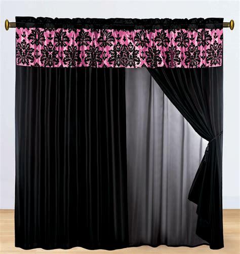 black and pink curtains 4 p silky satin flocking damask floral valance curtain set