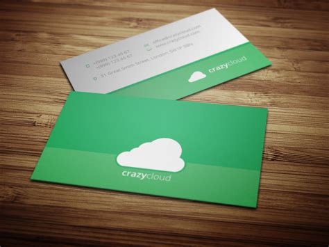 Flat Design Business Card Template By Crazyleafdesign On