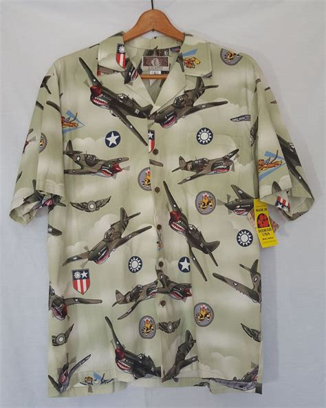 nwt kalaheo hawaiian shirt sz large ww fighter planes