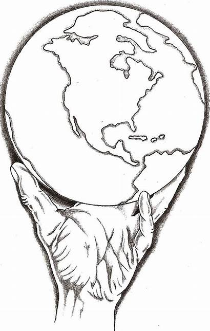 Drawing Holding Earth Hands Sketch Whole Got