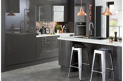 kitchen unit lights b q cooke lewis raffello high gloss anthracite slab diy at b q 6360