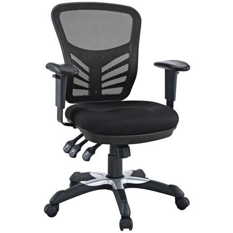 Desk Chair With Wheels by Lexmod Articulate Black Mesh Office Chair