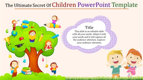 children powerpoint template education slideegg