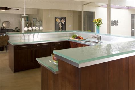 glass top kitchen island glass tops for cool and unusual kitchen designs from thinkglass digsdigs
