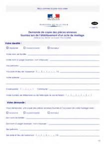 demander un acte de mariage demande de copie des pieces annexes fournies lors de l 39 établissement d 39 un acte de mariage