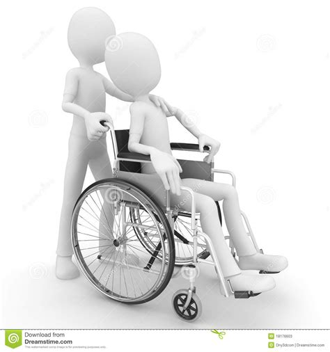 3d man helping older with wheel chair stock photos image