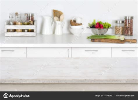 counter top table wooden table on blurred kitchen interior background with
