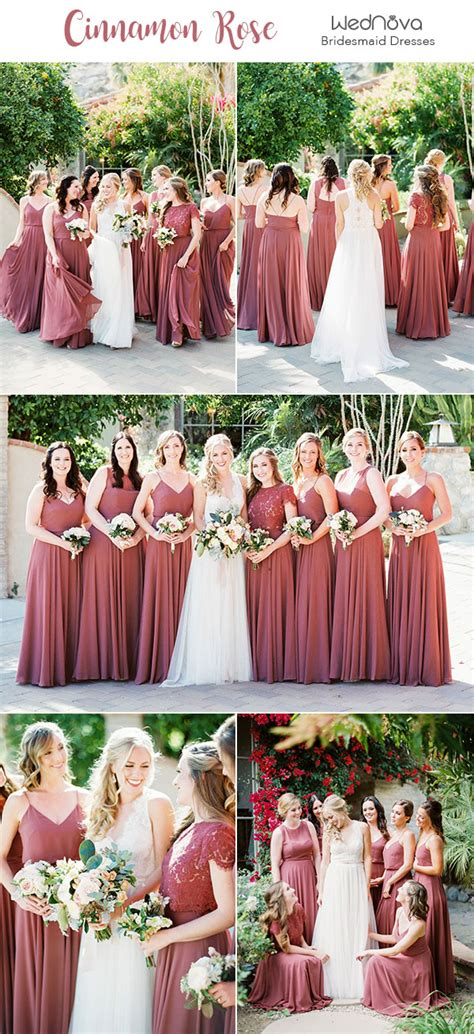 trendy romantic cinnamon rose bridesmaid dresses