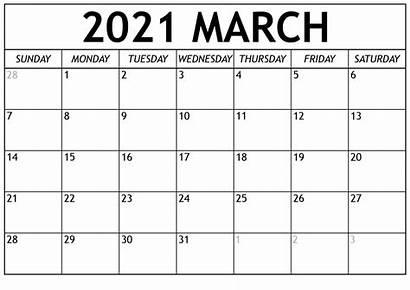 Calendar Printable 2021 March Template Blank Holidays
