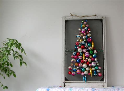 christmas tree made out of ornaments into vintage it s just like a tree but without all those annoying pine needles