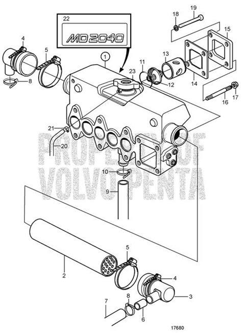 volvo penta exploded view schematic heat exchanger