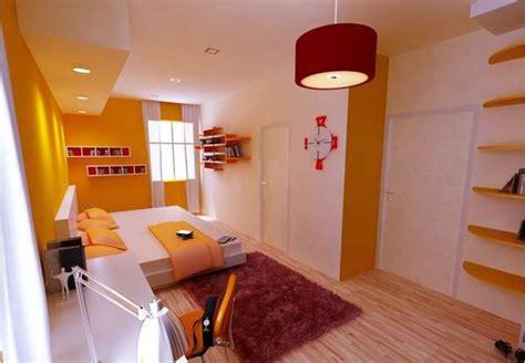 kamar tidur modern bertema warna kuning rancangan desain
