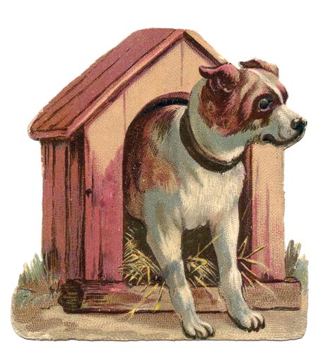 vintage clip art dog  dog house  graphics fairy