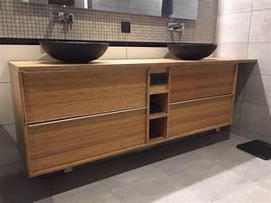 meuble double de salle de bain godmorgon en bambou massif With meuble à langer salle de bain