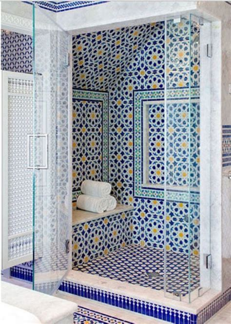 Blue Mosaic Tiles Bathroom by Blue Moroccan Mosaic Tile Bathroom In Cape Cod