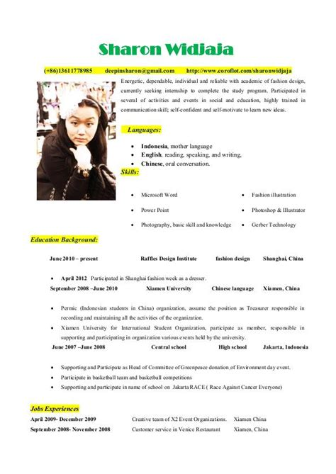 Curriculum Vitae Languages Spoken by Sle Cv In