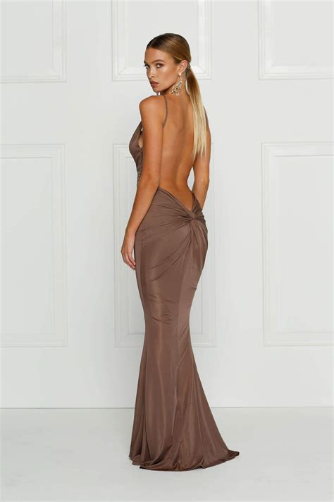 Penelope Chocolate Backless Jersey Gown With Plunge Neckline