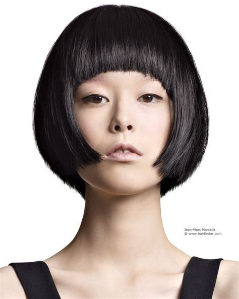 Short Asian bob haircut with a round shape and short fringe