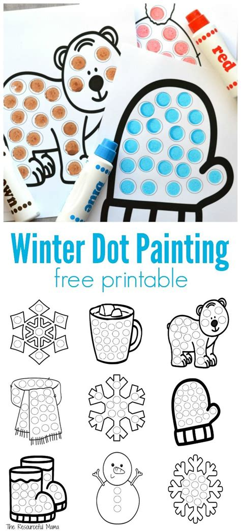 winter dot painting free printable flash cards 245 | 9262f35caef948f18df0d715bb91505d