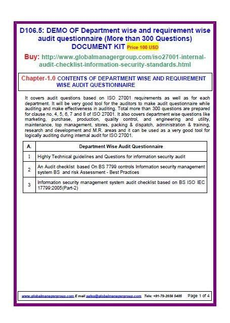 Audit Manager Questions by Iso 27001 Audit Checklist Document Kit Covers Iso