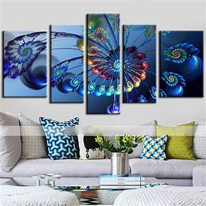 Aliexpress.com : Buy 5 Panels Canvas Peacock Feather ...
