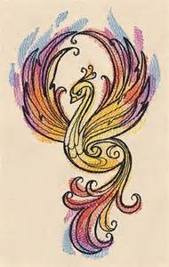 Watercolor Phoenix Tattoo Design