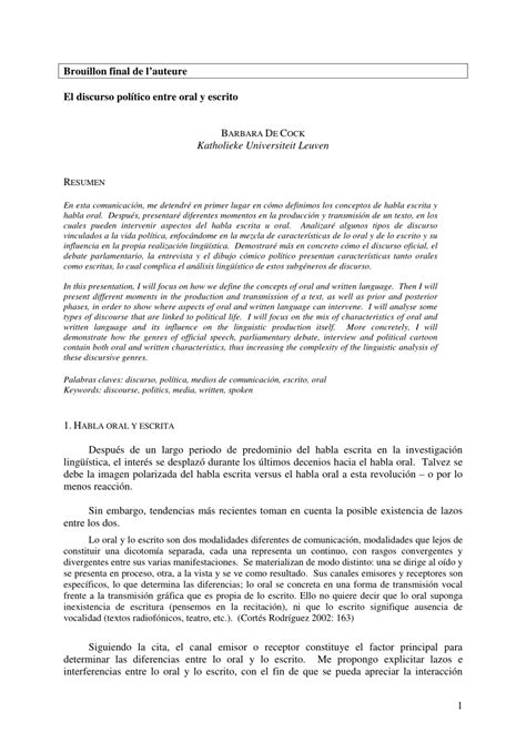 (PDF) El discurso político entre oral y escrito