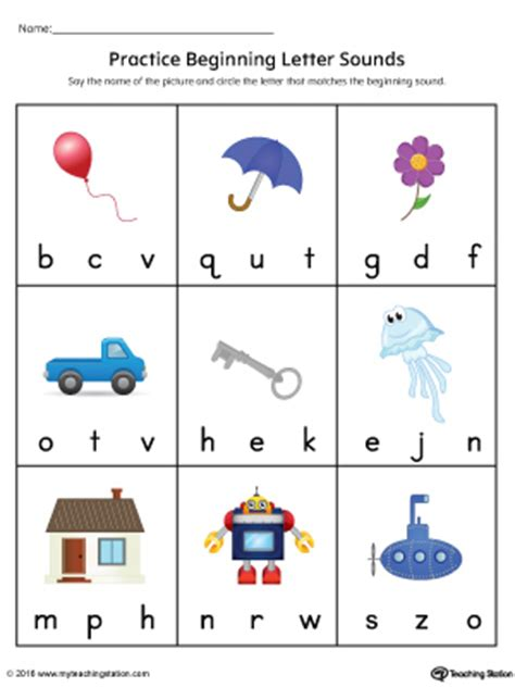 practice beginning letter sound worksheet  color