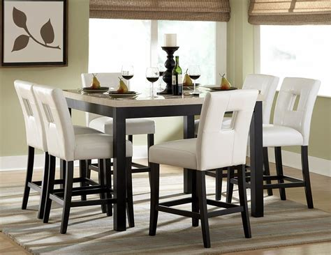 marble and wood dining table elegant dining room design with 7 pieces white faux marble