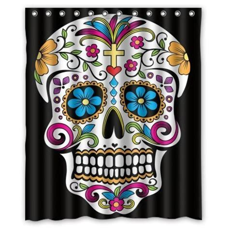 sugar skull shower curtain best sugar skull shower curtain designs a listly list