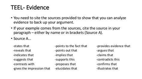 Teel essay structure worksheet